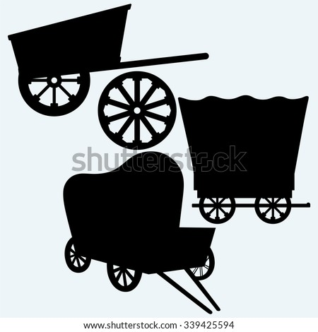Vintage wagons to transport. Isolated on blue background. Vector silhouettes - stock vector