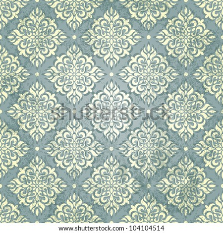 Vintage wallpaper in grunge style. Grunge effect  can be removed in vector file. EPS 10 vector illustration. - stock vector