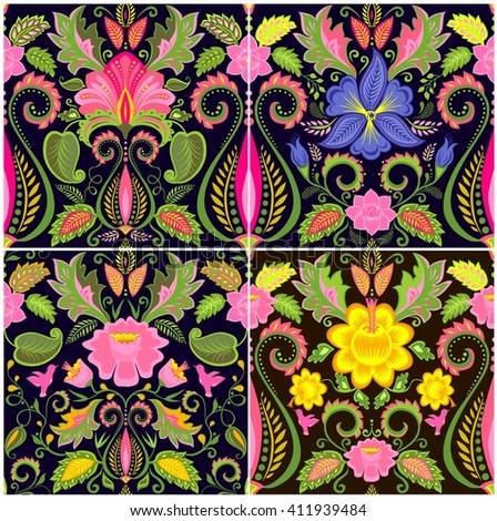 Vintage wallpapers with exotic flowers - stock vector