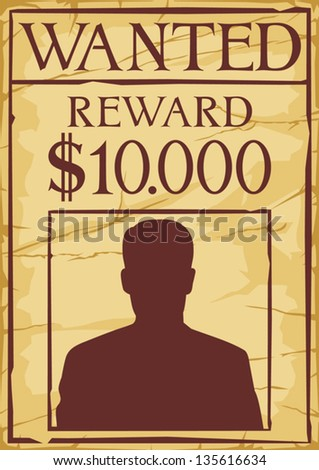vintage wanted poster  (old wanted poster) - stock vector