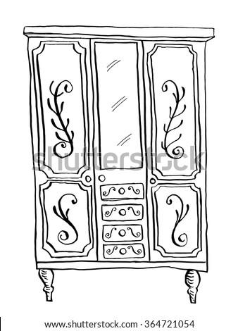Vintage Wardrobe Doodle Style Furniture Interior Design Elements Hand Drawn Ink Sketch