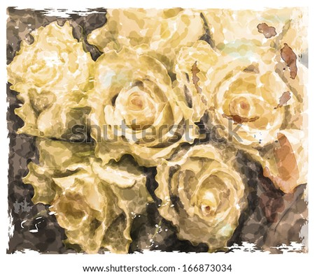 Vintage watercolor background with roses yellow roses.  - stock vector