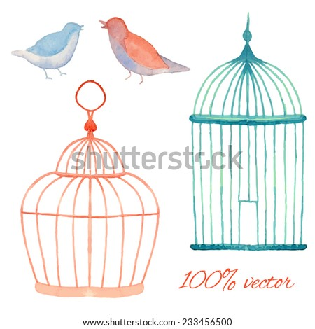 Vintage watercolor cages and birds. Hand painted vector objects set. Wedding design collection - stock vector