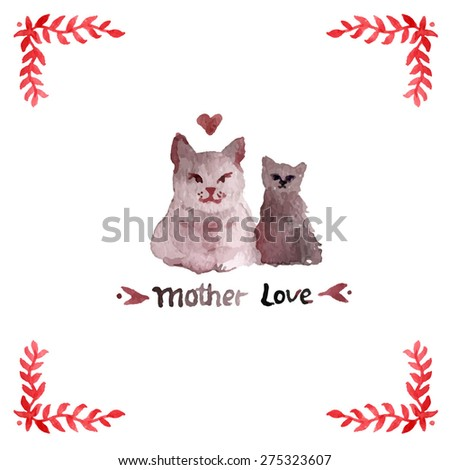 vintage watercolor cat illustration. Mother's day card. watercolor Mother cat with kitten. ginger background. animal silhouette. Best mother text.