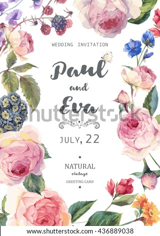Vintage watercolor floral vector wedding invitation with English roses and wildflowers, botanical natural rose Illustration.