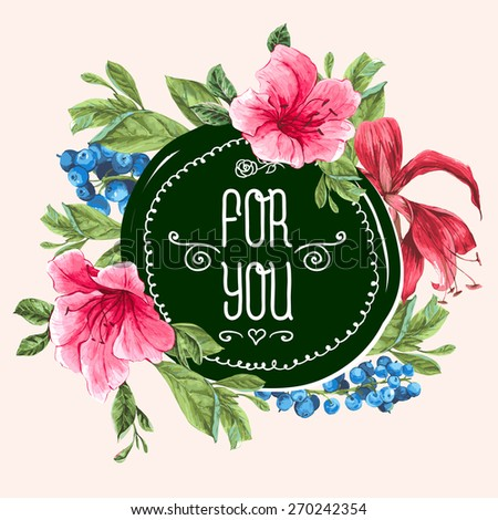 Vintage Watercolor Greeting Card with Blooming Exotic Flowers, Blueberries and Pink Tropical Flowers. Love You with Place for Your Text. Vector Illustration - stock vector