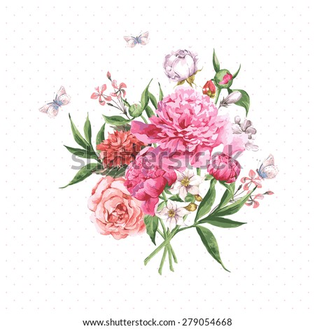 Vintage Watercolor Greeting Card with Blooming Flowers and Butterflies. Roses, Wildflowers and Peonies, Vector Illustration on a White Background - stock vector