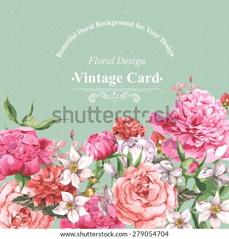 Vintage Watercolor Greeting Card with Blooming Flowers. Roses, Wildflowers and Peonies, Vector Illustration on a Turquoise Background - stock vector