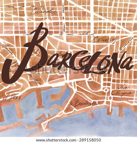 Vintage watercolor map with  brown lettering   BARCELONA - stock vector