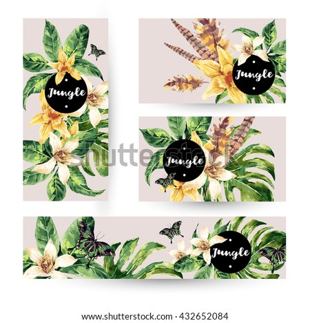 Vintage watercolor summer set with tropical green leaves and exotic flowers, butterflies, feathers in bohemian style. Nature invitation. Botany. Collection natural vector decorative design elements. - stock vector