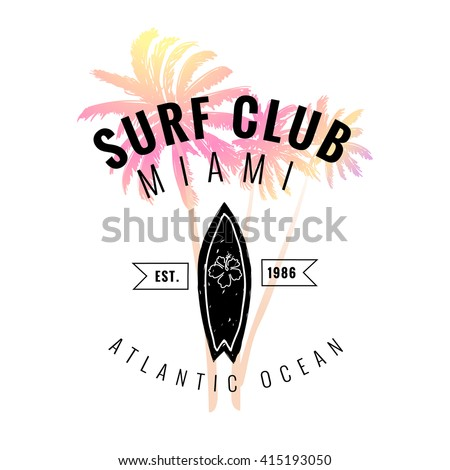 Vintage watercolor summer surf print with typography design, palm trees, surfboard and lettering Surf Club Miami. Tropical vector set, fashion print, T-shirt design.  - stock vector