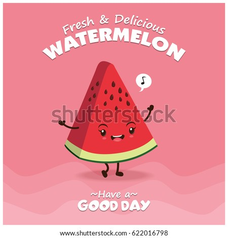Vintage watermelon poster design with vector watermelon character.