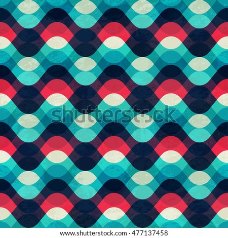 Vintage wave seamless pattern with grunge effect