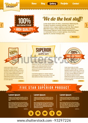 Vintage web template with old banner icons - stock vector
