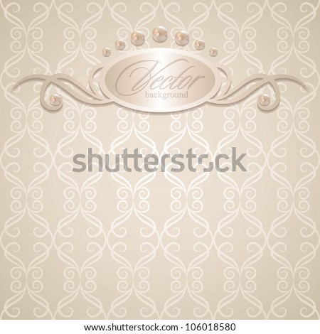 vintage wedding background with pearls, vector illustration - stock vector