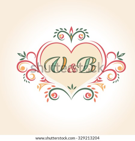 vintage wedding badge in the shape of a heart. Retro vector label with monogram. For wedding decoration. - stock vector