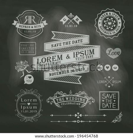 Vintage Wedding border and frames on chalkboard background - stock vector