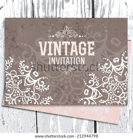 Vintage Wedding card or invitation with abstract lace background and borders on a realistic wood texture - stock vector