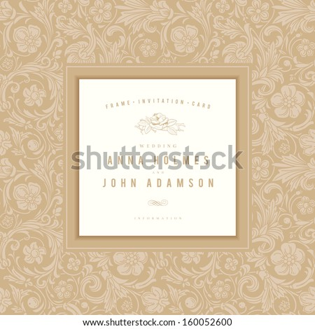 Vintage wedding card vector. Gold frame with an ornament in baroque style.