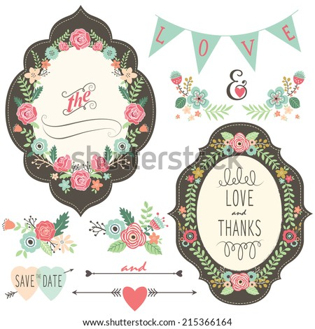 Vintage Wedding Flora Frame - stock vector