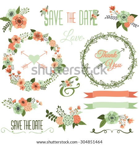 Vintage Wedding Flower Collections. - stock vector
