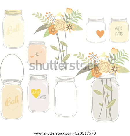 Vintage Wedding Flowers with Mason Jar - stock vector