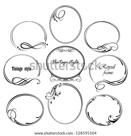 Vintage wedding frames - stock vector