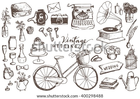 Vintage Wedding Hand Drawn Illustrations - Vector Wedding Elements Including Bicycle, Typewriter, Camera, Skeleton Keys, Wedding Cake, Flowers, Cupcakes, Rings, Candles and Signs - stock vector