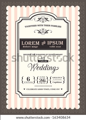 Vintage Wedding invitation border and frame template - stock vector