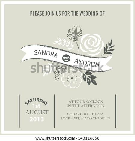Vintage wedding invitation card. - stock vector