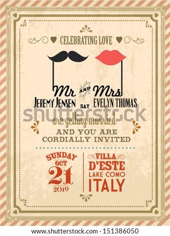 vintage wedding invitation card template vector/illustration - stock vector
