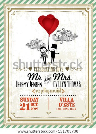 vintage wedding invitation card template with boy and girl holding balloons vector/illustration - stock vector