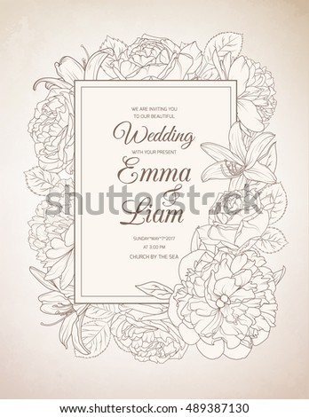 Vintage wedding invitation card template with text. Spring summer floral frame design element. Rose, peony and lily flowers.