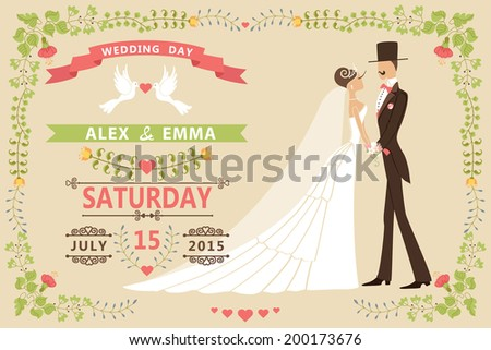 Vintage Wedding Invitation Design Template Cartoon Pigeons Stock