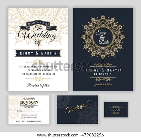 Vintage Wedding Invitation Mehndi Mandala Design Vector – Invition Card