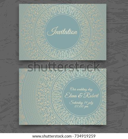 Vintage Wedding Invitation Business Card Templates Stock Vector ...