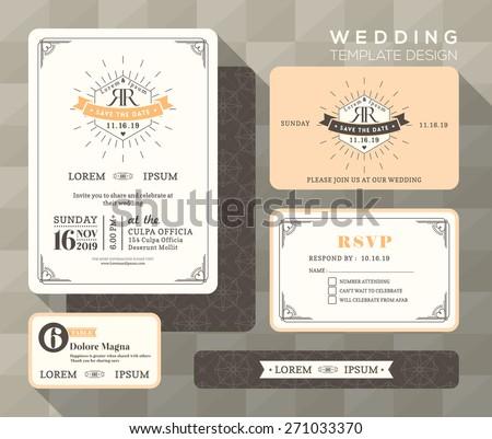 Vintage wedding invitation set design template stock vector vintage wedding invitation set design template vector place card response card save the date card stopboris Gallery