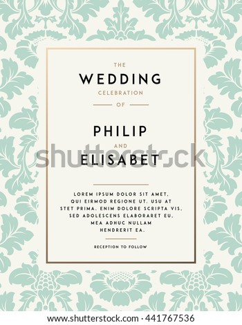 Vetor stock de vintage wedding invitation template modern design vintage wedding invitation template modern design wedding invitation design with damask background tradition stopboris Image collections