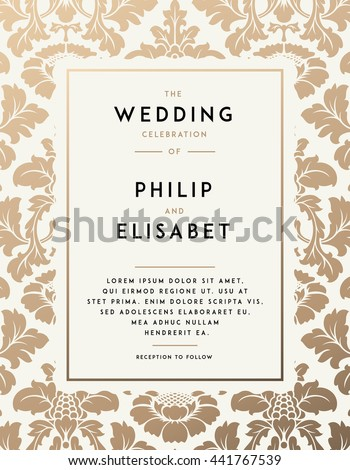 Vintage wedding invitation template modern design stock vector vintage wedding invitation template modern design wedding invitation design with damask background tradition stopboris Image collections