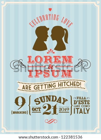 Vintage Wedding Invitation Template Vectorillustration Cameo Stock ...