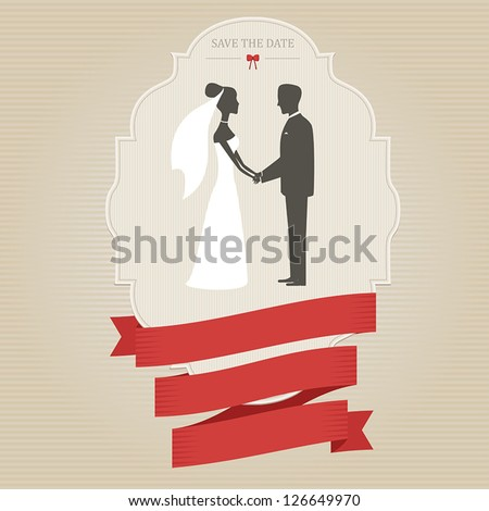 Vintage wedding invitation with bride and groom holding hands - stock vector