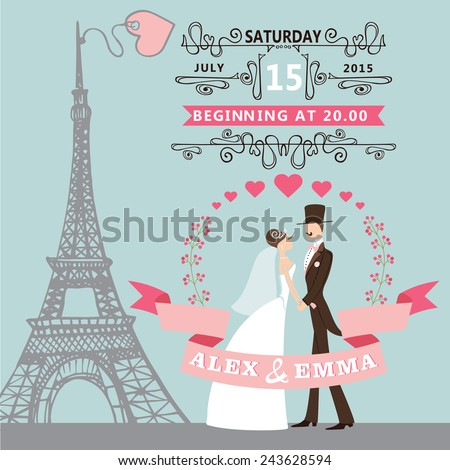 Vintage wedding invitation with Cartoon bride ,groom ,floral wreath, swirling borders,ribbons.Paris street,Eiffel tower  background.Cute design template.Vector illustration. - stock vector