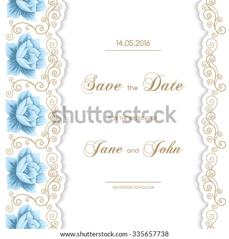 Vintage wedding invitation with roses and calligraphy frame. Save the date design. Vector illustration