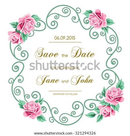 Vintage Wedding Invitation Roses Invitation Template Stock Vector