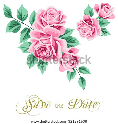 Vintage wedding invitation with roses. Save the date design. Vector illustration - stock vector