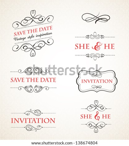 Vintage wedding invitations vector set - stock vector