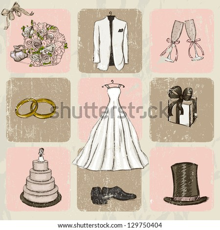 Vintage wedding poster. Vector illustration EPS8 - stock vector