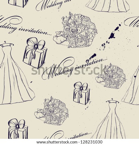 Vintage wedding seamless texture. Vector illustration EPS8 - stock vector