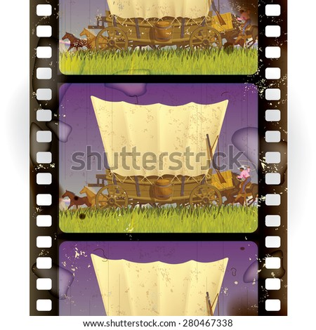 Vintage western film strip with an covered wagon in prairie. Vertical seamless pattern background. Vector illustration - stock vector