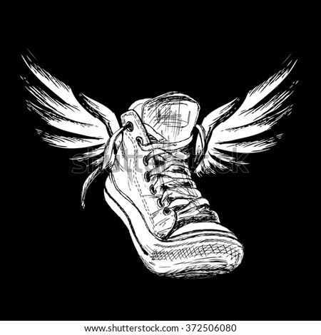 Vintage white Sneakers with wings Hand Drawn on black background, vector illustration. - stock vector